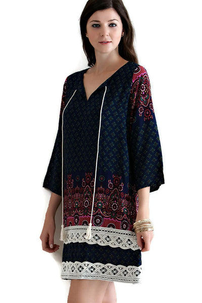 Border Print V-Neck Tassel Tie Dress, Navy