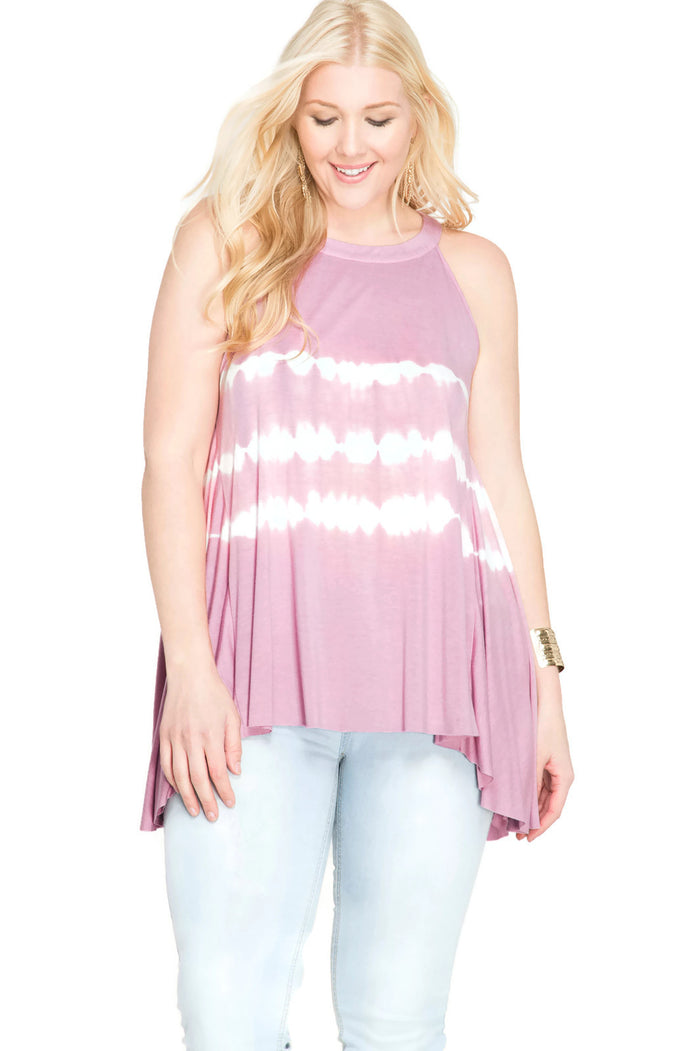 Sleeveless Tie Dye Tank Top, Rose