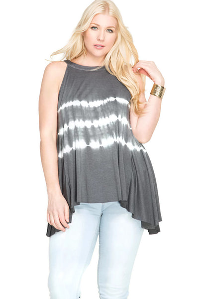 Sleeveless Tie Dye Tank Top, Grey