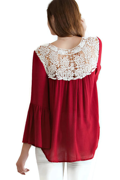 Bell Sleeve Crochet Top, Burgundy