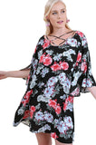 Floral Split Bell Sleeve Dress, Black Mix