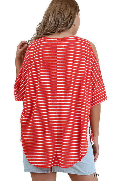Striped Cold Shoulder Top, Strawberry