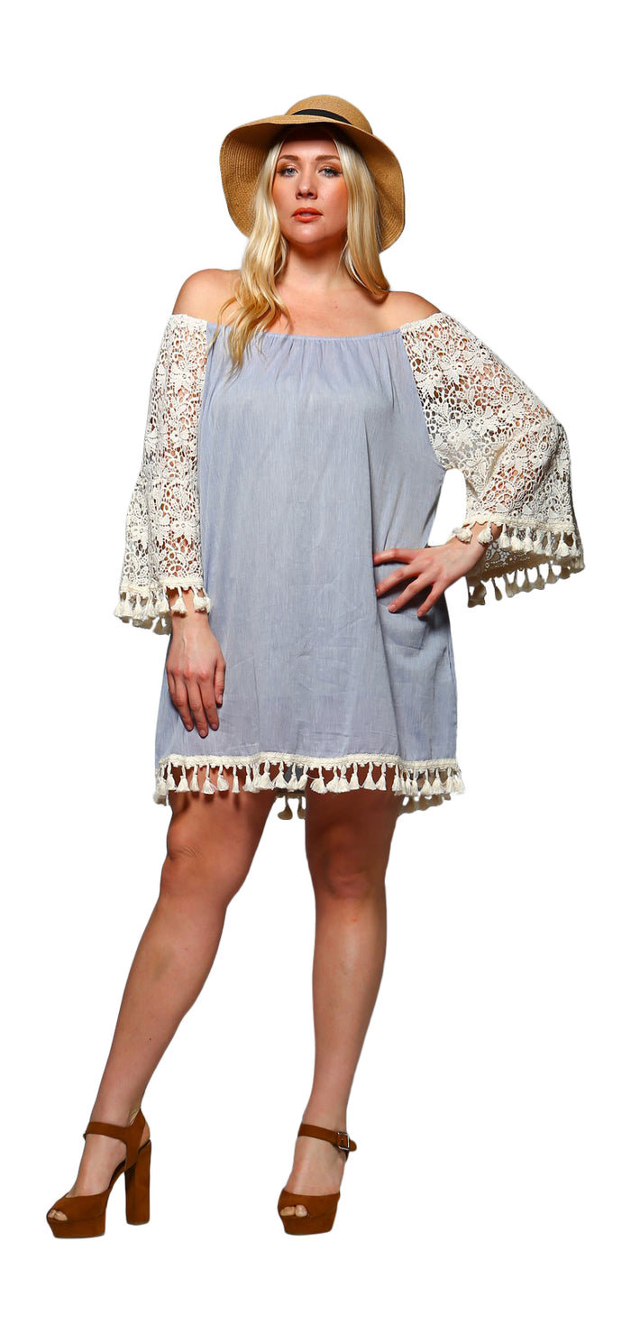 Crochet Sleeve Fringe Dress, Blue