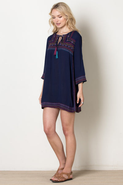 Gypsy Love Embroidered Shift Dress, Navy