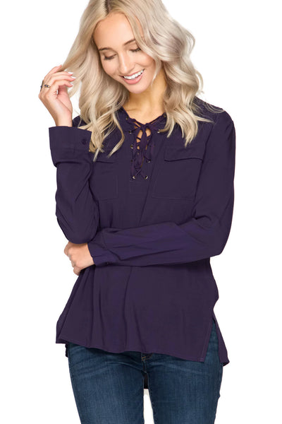 Lace Up Shirt With Pockets, Purple
