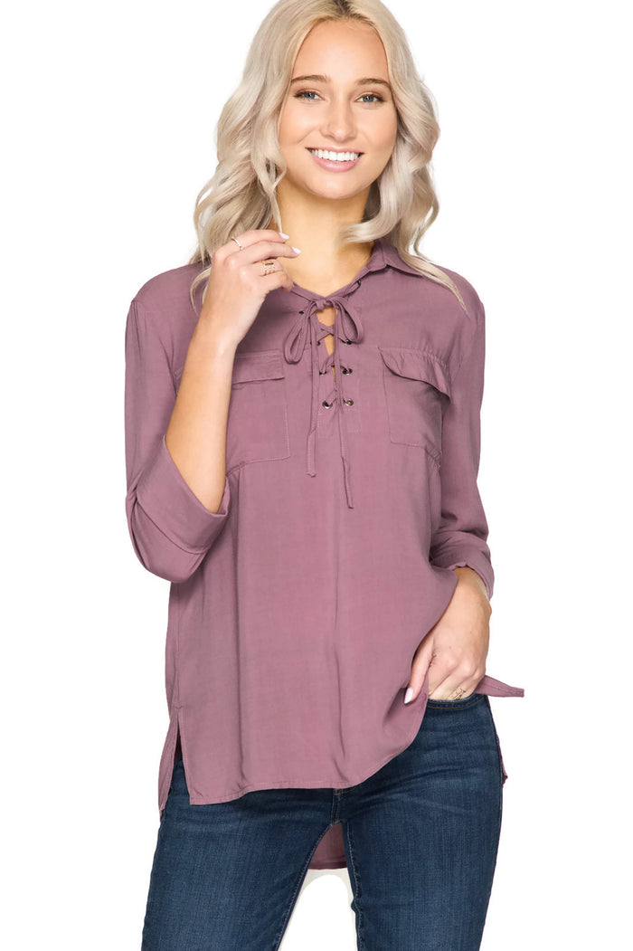 Lace Up Shirt With Pockets, Dusty Mauve
