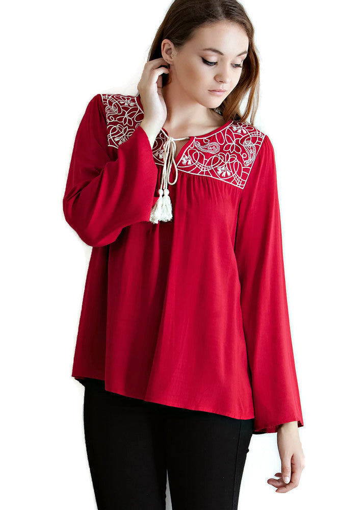 Embroidered Tassel Tie Top, Red