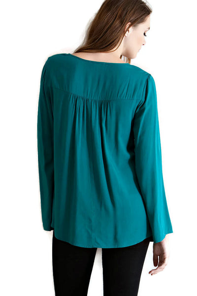Embroidered Tassel Tie Top, Teal