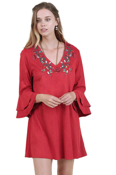 Layered Ruffle Sleeve Dress, Red