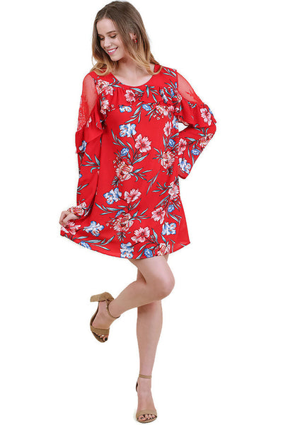 Ruffled Lace Floral Bell Sleeve Dress, Red