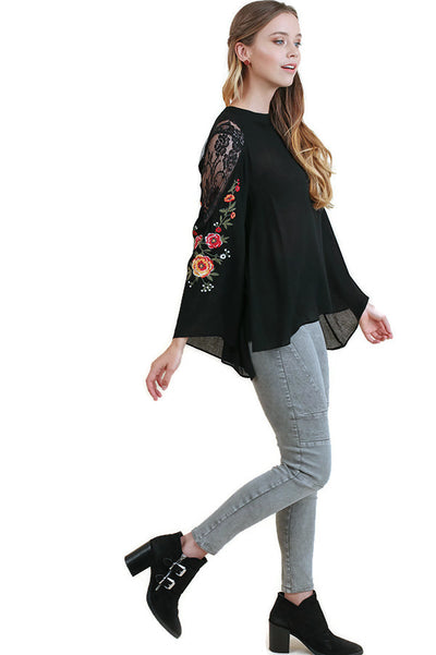 Floral Embroidered Bell Sleeve Tunic, Black