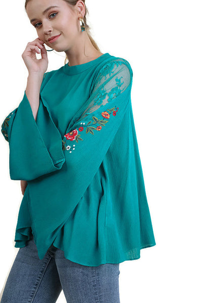 Floral Embroidered Bell Sleeve Tunic, Teal