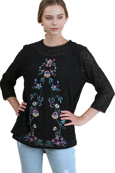 Floral Embroidered & Lace Tunic Top, Black
