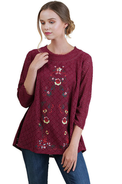 Floral Embroidered & Lace Tunic Top, Wine