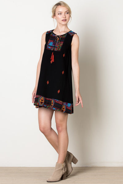 Santa Fe Sleeveless Dress, Black
