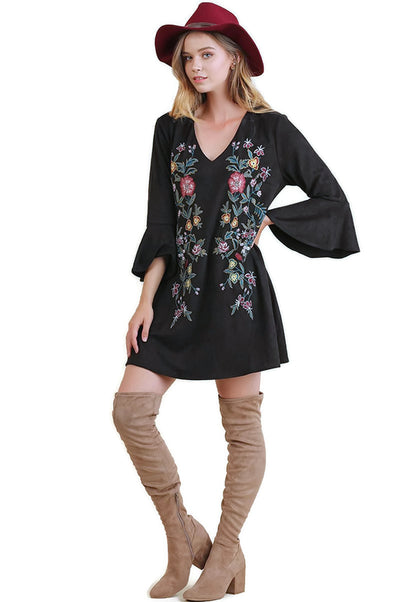 Floral Embroidered Bell Sleeve Dress, Black