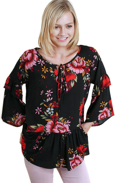 Floral Layered & Ruffled Blouse, Black