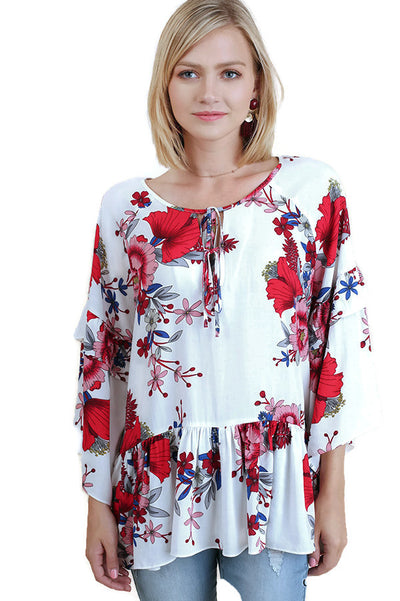 Floral Layered & Ruffled Blouse, Off White