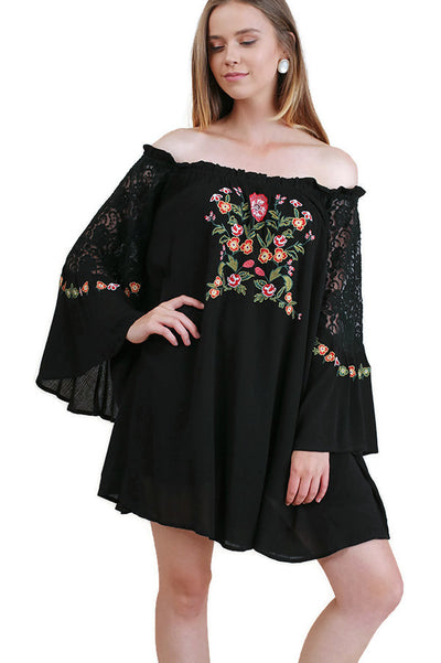 Floral Embroidered Lace Bell Sleeve Off The Shoulder Dress, Black