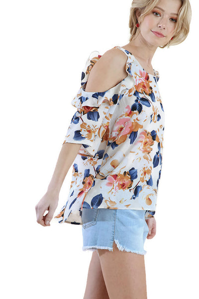 Floral Cold Shoulder Ruffle Blouse , Cream Mix