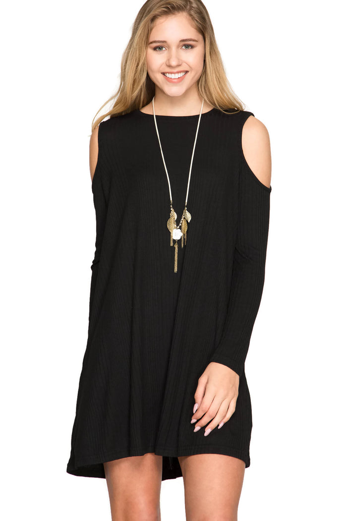 The Perfect Match Ribbed Shift Dress, Black