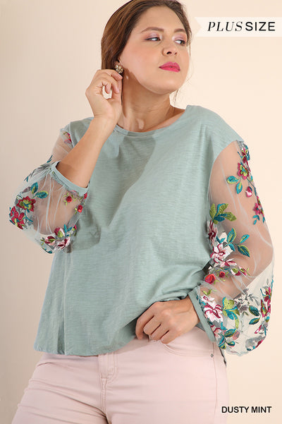 Floral Embroidered Puff Sleeve Top, Dusty Mint