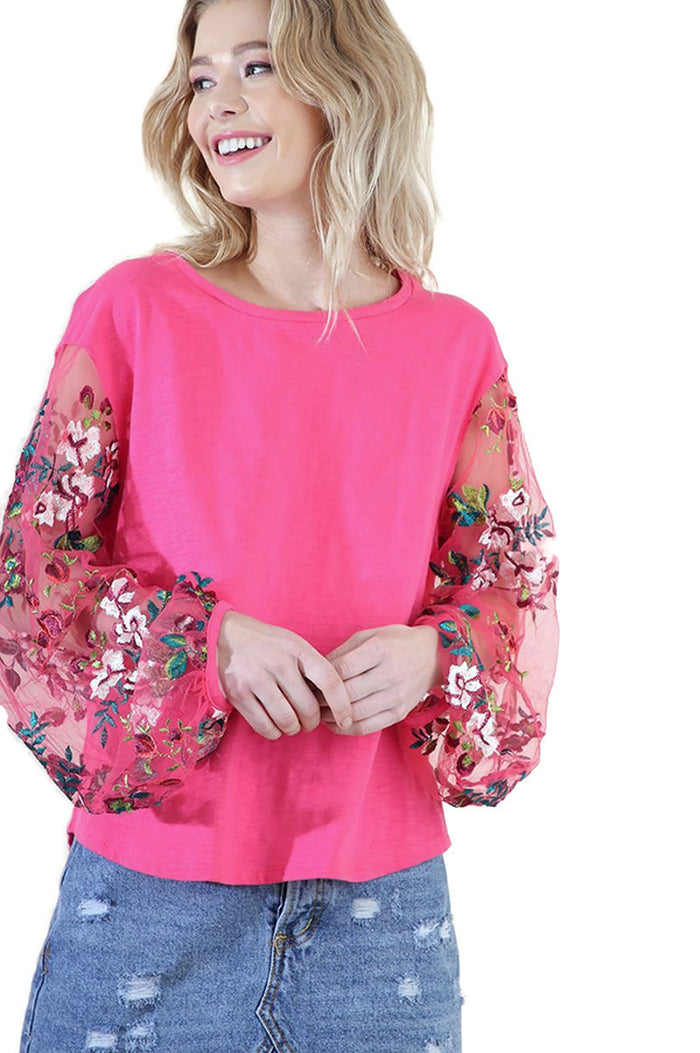 Floral Embroidered Top, Hot Pink