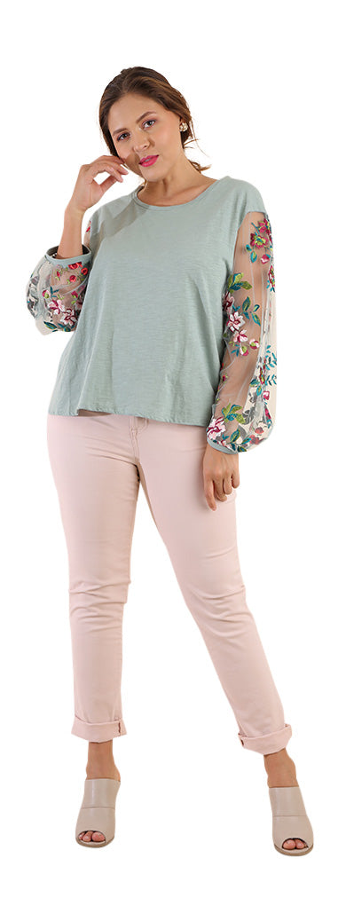 Floral Embroidered Top, Dusty Mint