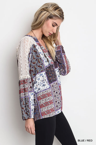 Floral Lace Patchwork Blouse, Blue