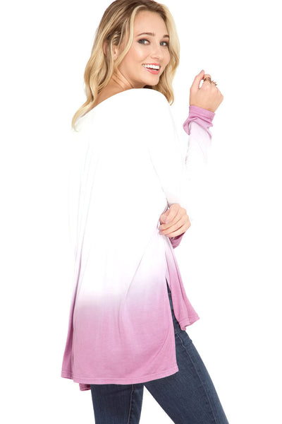 Ombre Dip Dye Pocket Tunic Top, Mauve