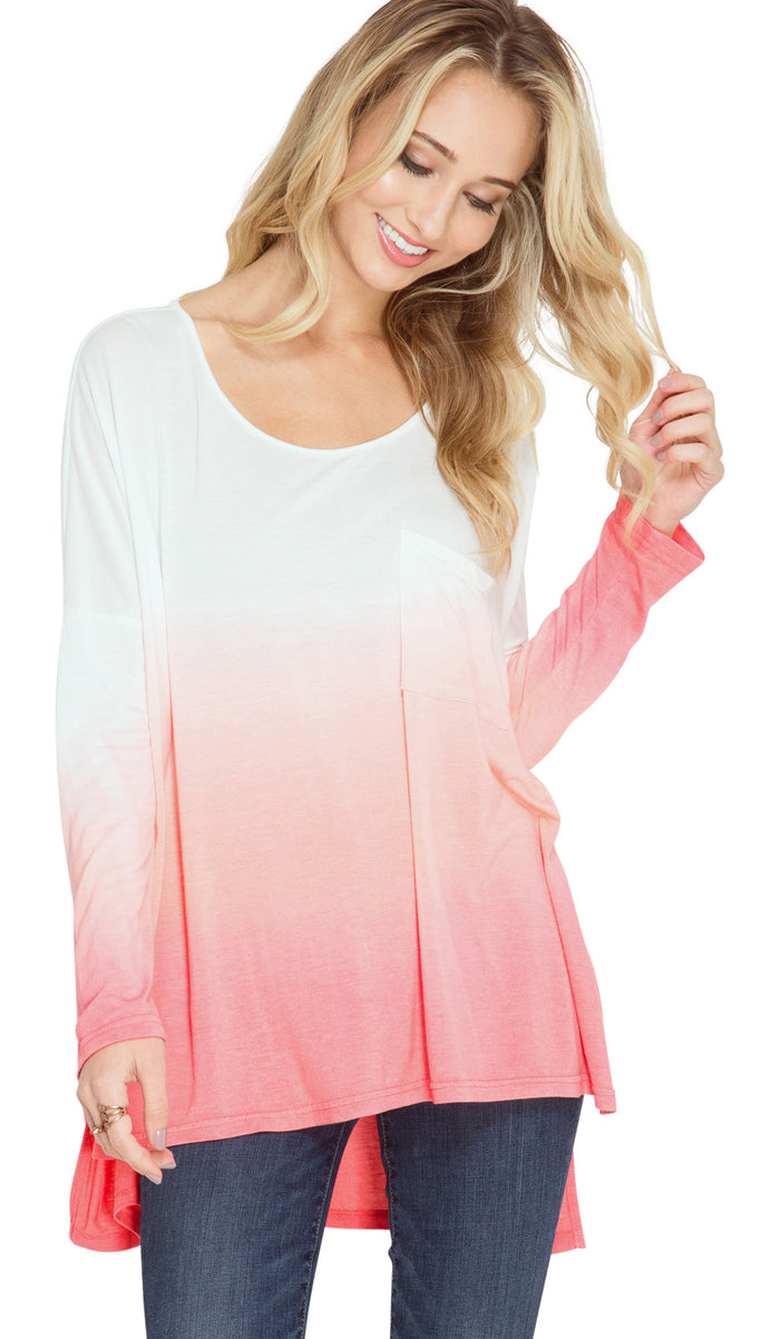 Ombre Dip Dye Pocket Tunic Top, Coral