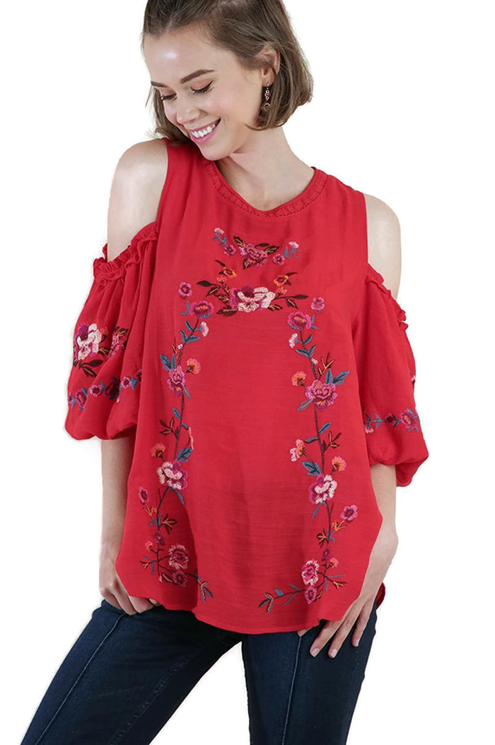 Floral Embroidered Open Shoulder Crochet Peasant Top, Red