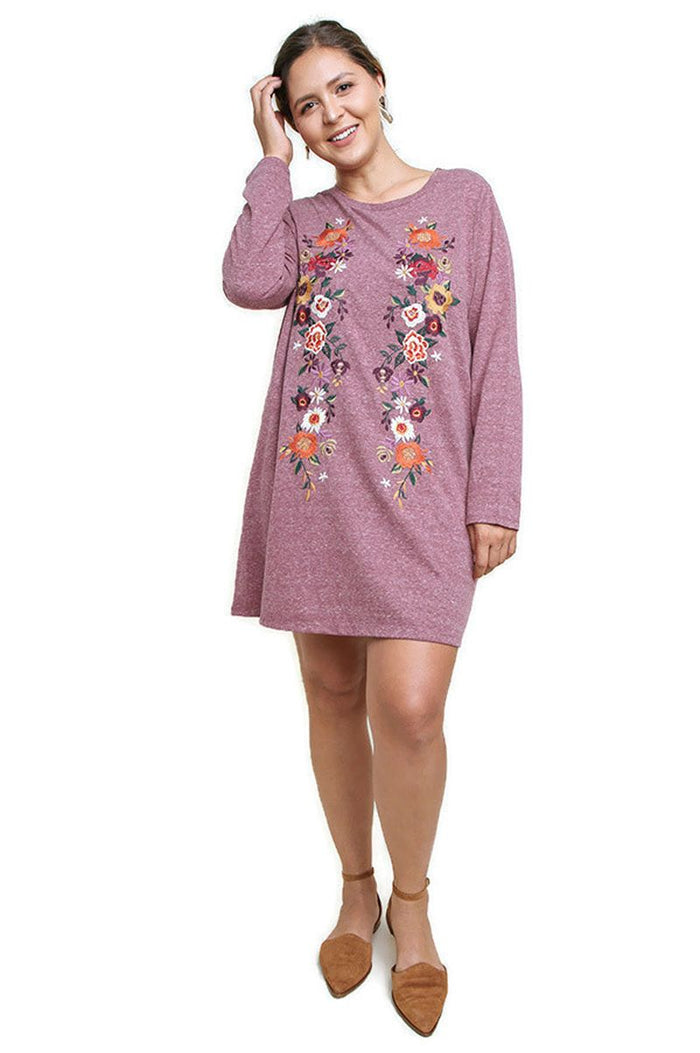 Floral Embroidered Heathered Knit Dress, Wine