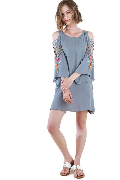 Floral Embroidered Angel Sleeve Dress, Slate Grey