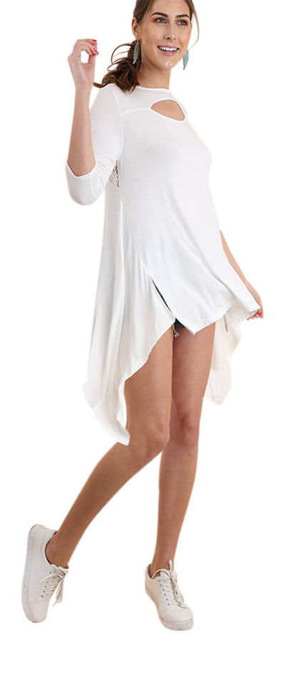Lace & Cutout High Low Tunic, Off White