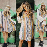 Mixed Print Lace Dress, Mustard