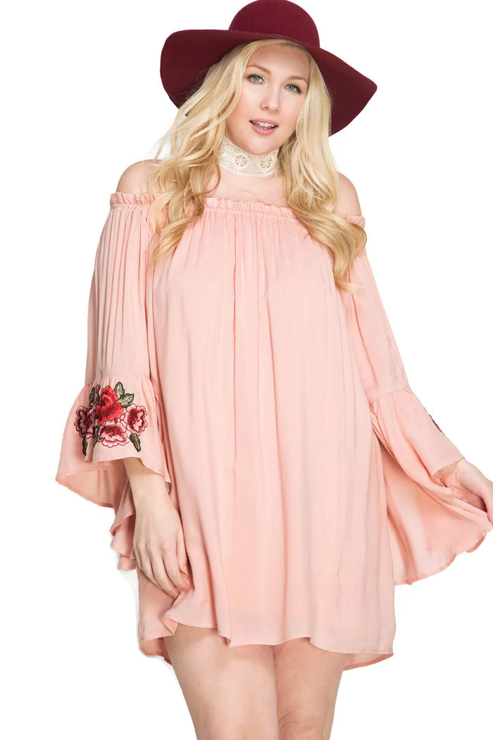 Floral Embroidered Off The Shoulder Mini Dress, Blush