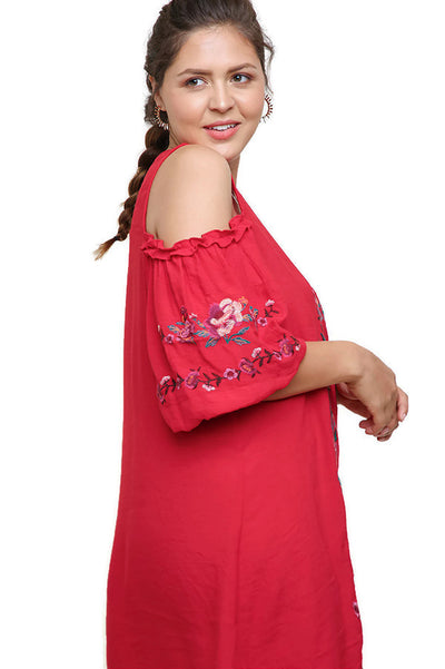 Floral Embroidered Ruffled Cold Shoulder Mini Dress, Red