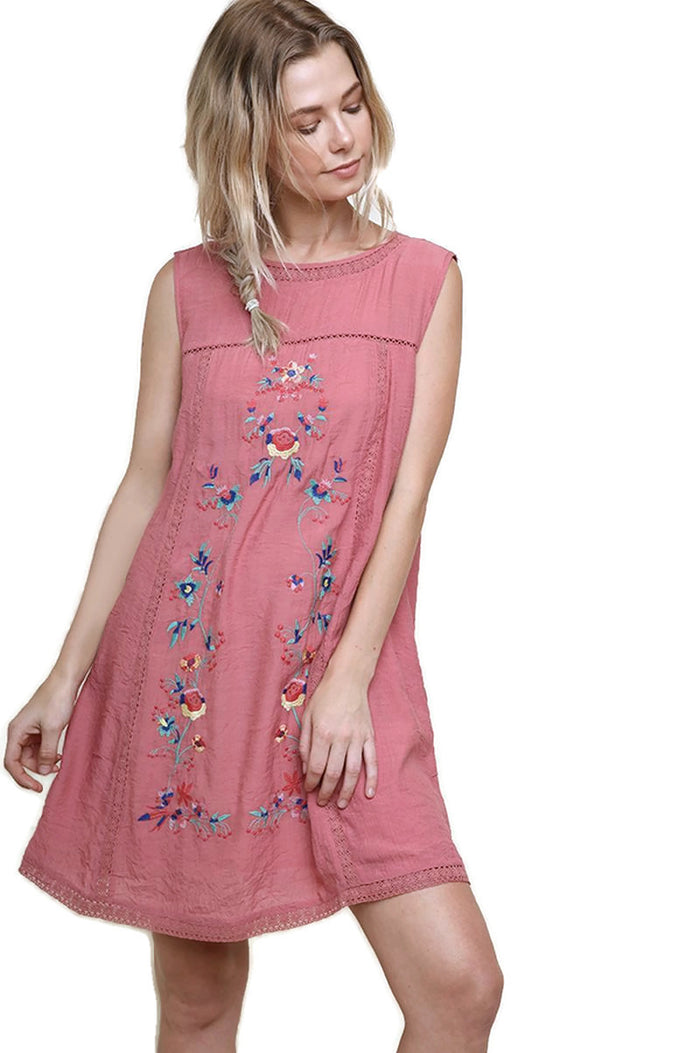 Floral Embroidered Keyhole Dress, Rose