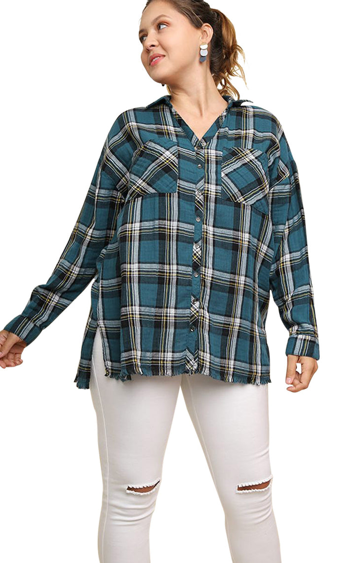umgee plaid and frayed cotton tunic top