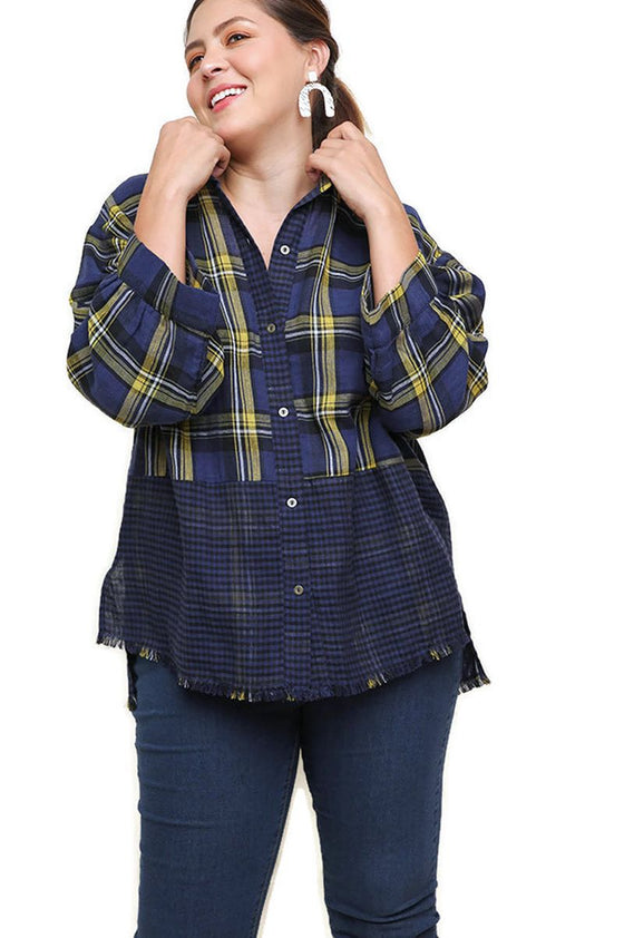 Plaid & Checkered Frayed Top, Navy