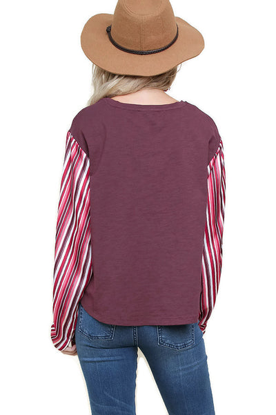 Satin Striped Sleeve Top, Burgundy