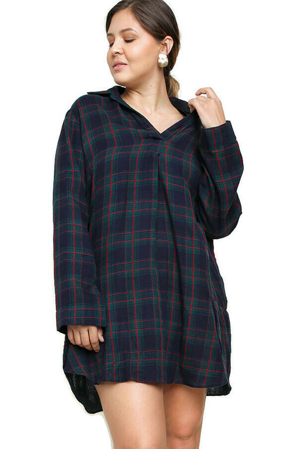 umgee  Plaid Collared Tulip Hem Cotton Dress