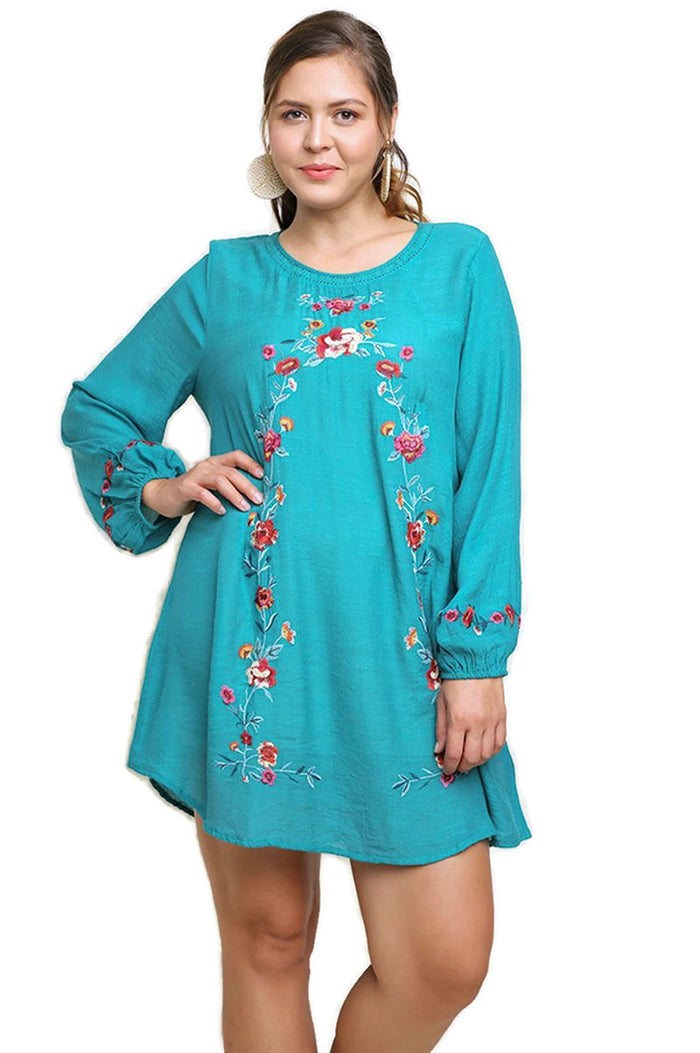 Floral Embroidered Dress, Emerald