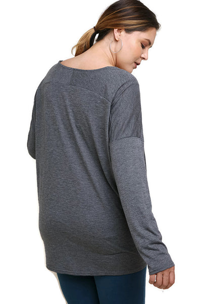 Heathered Front Knot Detail Top, Charcoal