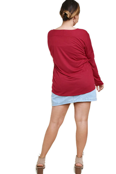 Heathered Front Knot Detail Top, Garnet