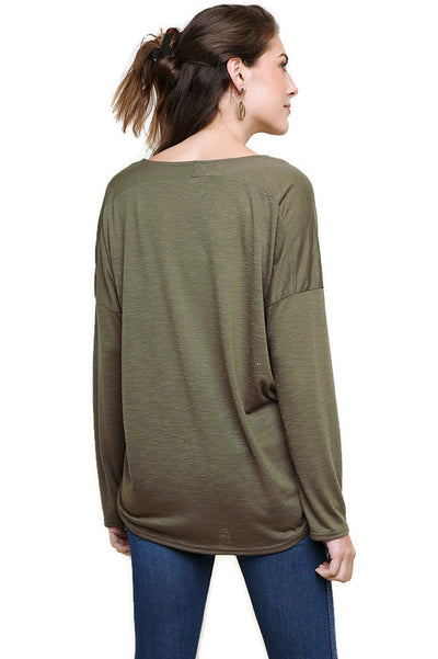Heathered Front Knot Detail Top, Olive