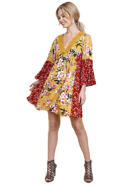 Twin Floral Bell Sleeve Crochet Babydoll Dress
