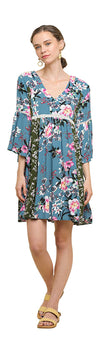 Multi Floral Bell Sleeve Mini Dress, Dusty Mint