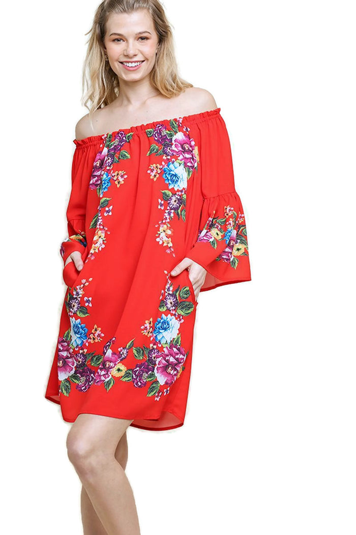 Floral Bell Sleeve Pocket Mini Dress, Red